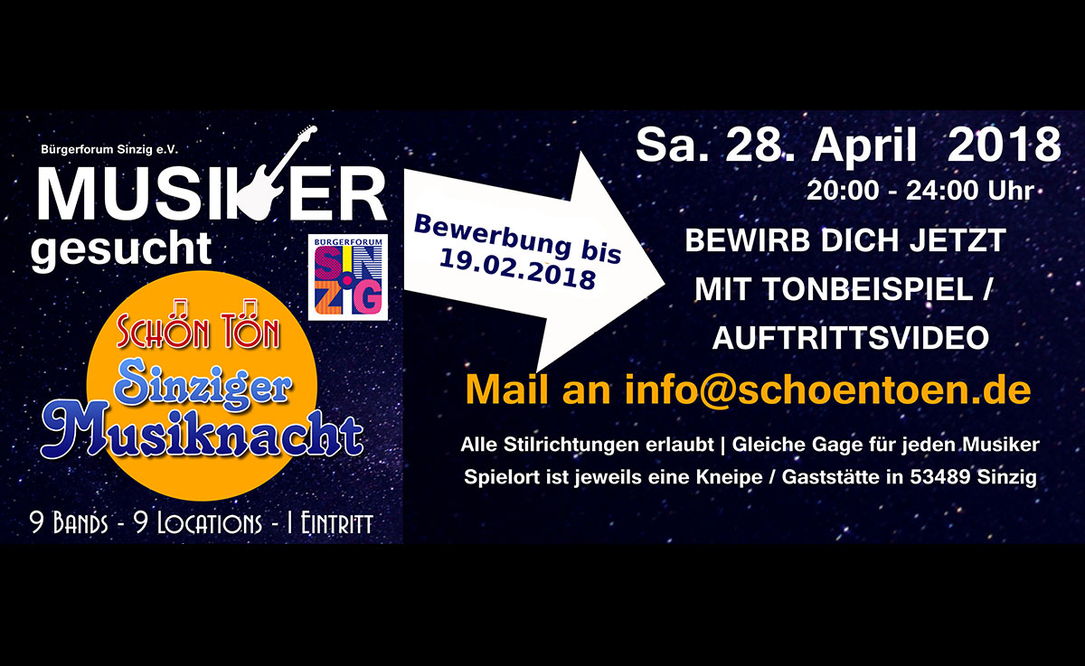 Am 28 April findet die dritte Sinziger Musiknacht statt